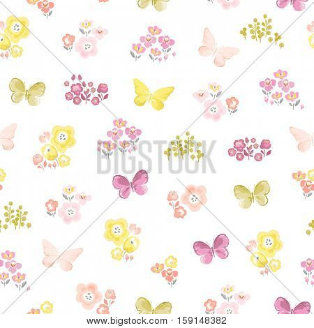 Seamless print with flowers and flying butterflies. Vector childish illustration in vintage style on white background.