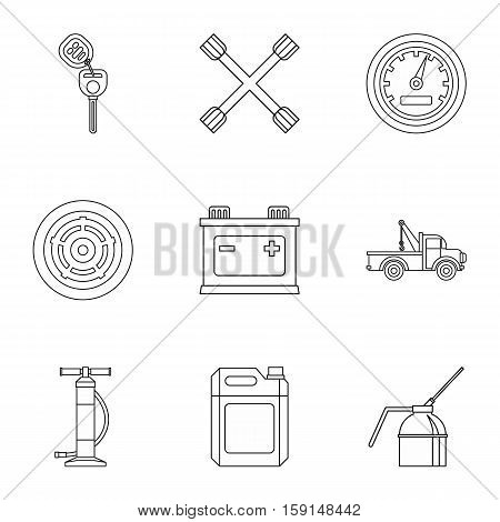 Maintenance car icons set. Outline illustration of 9 maintenance car vector icons for web