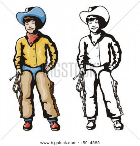 Ilustração de um garoto cowboy segurando um laço.