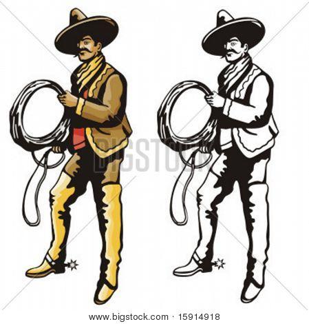 Ilustração de um vaqueiro de latino segurando um laço.