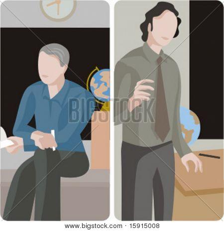 Serie de ilustraciones del maestro.  1) Profesor de geografía una clase en un aula de enseñanza. 2) Geografía te