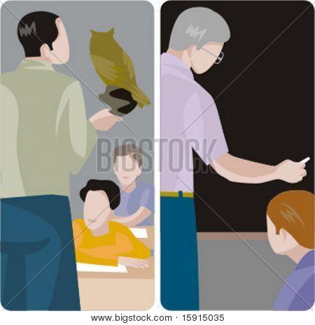 Serie de ilustraciones del maestro.  1) Profesor de Biología una clase en un aula de enseñanza. 2) Classe general