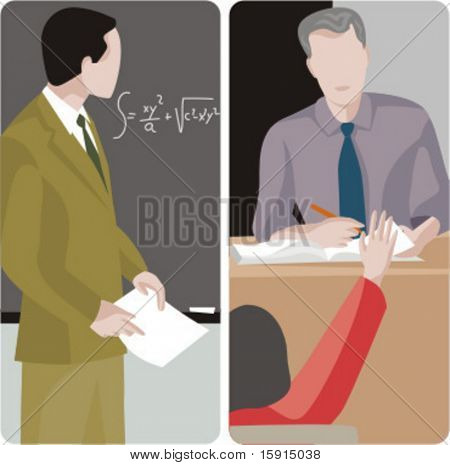 Teacher illustrations series.  1) Math teacher looking at the mathematical problem on the blackboard. 2) General classes teacher examining a student.