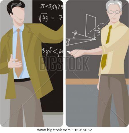 Teacher illustrations series.  1) Math teacher solving a mathematical problem. 2) Math teacher teaching a class in a classroom.