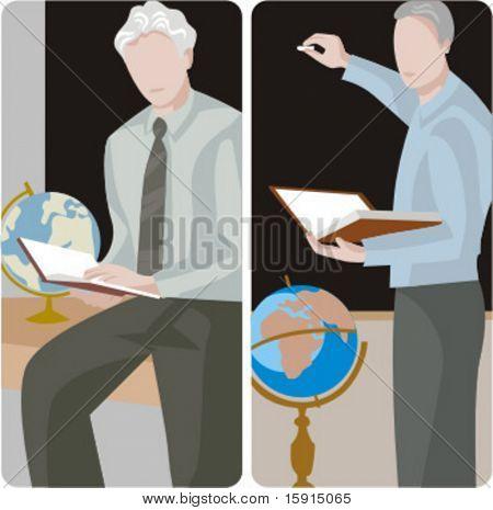 Teacher illustrations series.  1) Geography teacher teaching a class in a class room. 2) Geography teacher teaching a class and writing on a blackboard in a classroom.