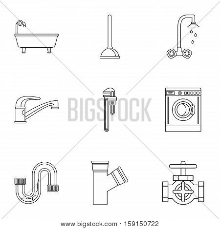 Toilet icons set. Outline illustration of 9 toilet vector icons for web