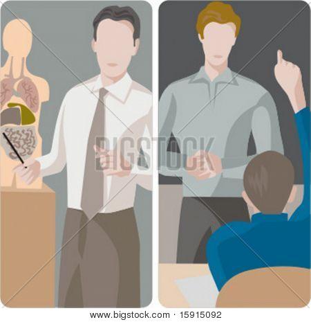 Teacher illustrations series.  1) A biology teacher teaching a class. 2) A general classes teacher teaching a class in a classroom.