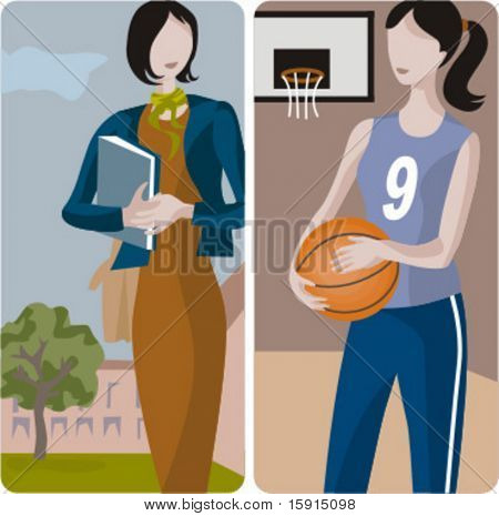 Teacher illustrations series.  1) Student walking in a schoolyard. 2) Sport teacher teaching a basketball lessons.