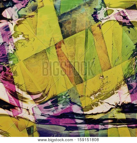 Geometric ancient texture or damaged old style background with vintage grungy design elements and different color patterns: yellow (beige); brown; green; blue; purple (violet); pink