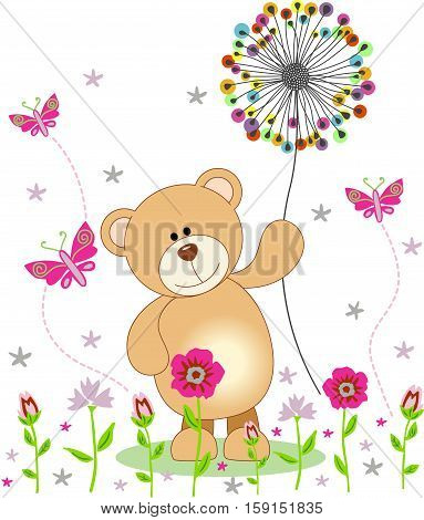 Scalable vectorial image representing a teddy bear holding dandelion, isolated on white.