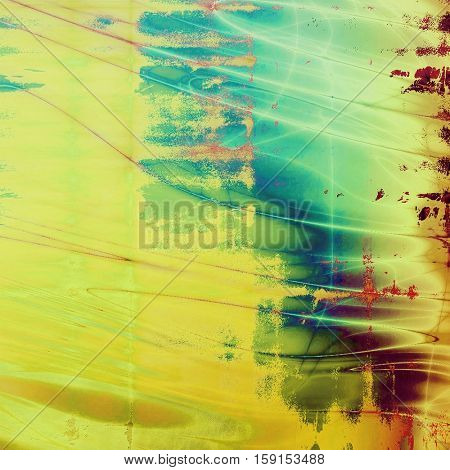 Vintage background with dirty grungy texture or overlay and different color patterns: yellow (beige); green; blue; red (orange); pink; cyan