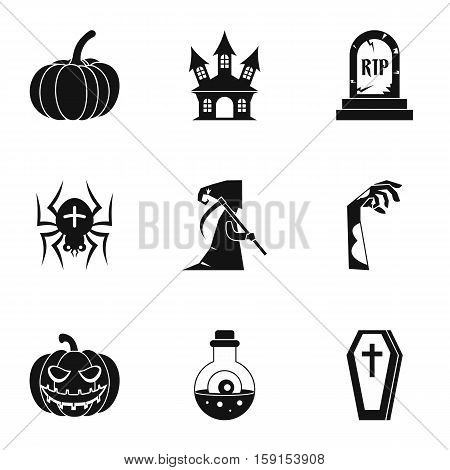 Terrible holiday icons set. Simple illustration of 9 terrible holiday vector icons for web
