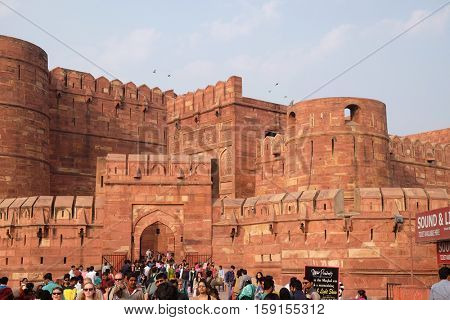AGRA, INDIA - FEBRUARY 14 : Amar Singh Gate of Agra Fort, UNESCO World heritage site in Agra. Uttar Pradesh, India on February 14, 2016.