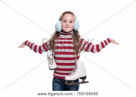 Lovely Smiling Little Girl Wearing Colorful Striped Sweater And Headdress, Holding Skates Isolated O