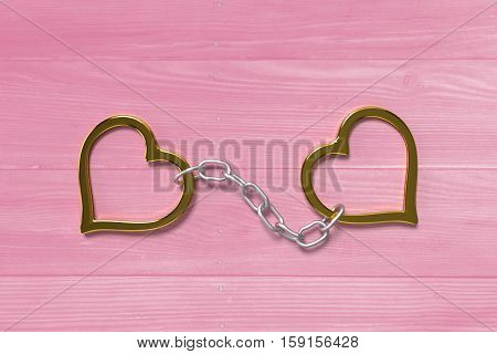 golden love handcuffs on the pink bright planks, 3d rendering