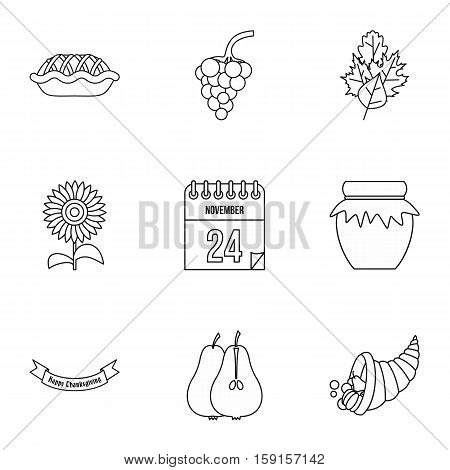 Thanksgiving feast icons set. Outline illustration of 9 thanksgiving feast vector icons for web