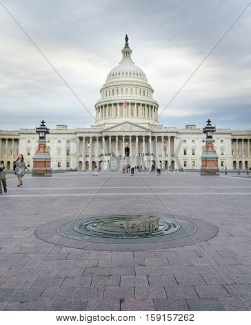 Washington Dc, Usa - October 21, 2016: United States Capitol Dome Panorama On A Cloudy Day