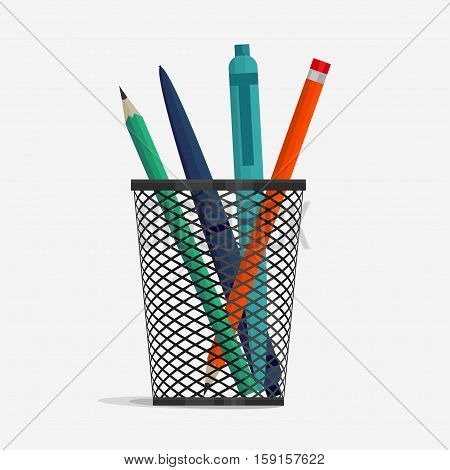 Pen and pencil in holder basket, office organizer box, metal grid clerical vase. vector