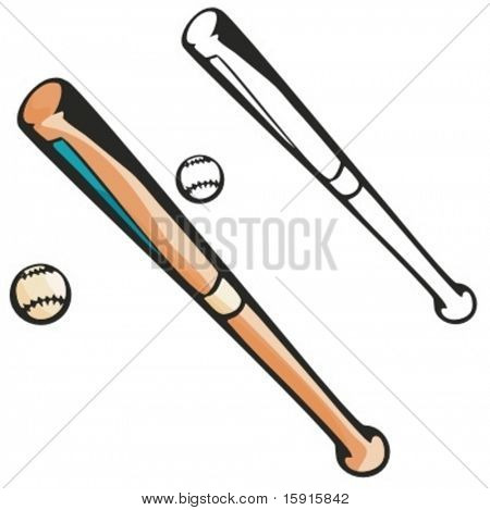 Baseball bat with a ball. Vector illustration