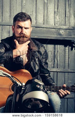 Frown Bearded Man Hipster Biker