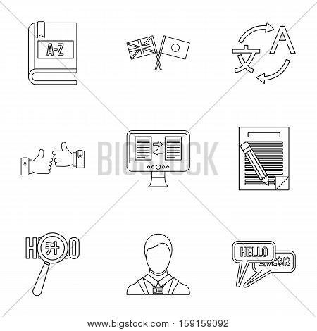 Translation icons set. Outline illustration of 9 translation vector icons for web