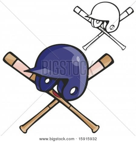 Baseball batter helmet and bats. Vector illustration