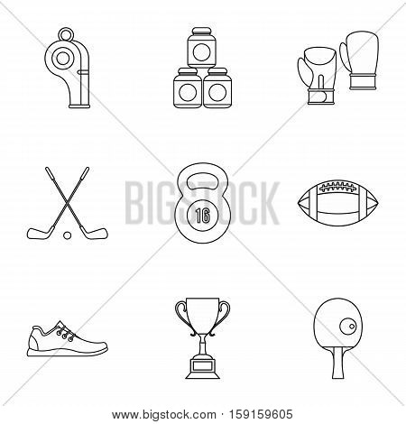 Sports equipment icons set. Outline illustration of 9 sports equipment vector icons for web