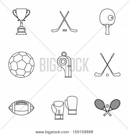 Sports accessories icons set. Outline illustration of 9 sports accessories vector icons for web