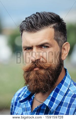 Frown Bearded Man Outdoor