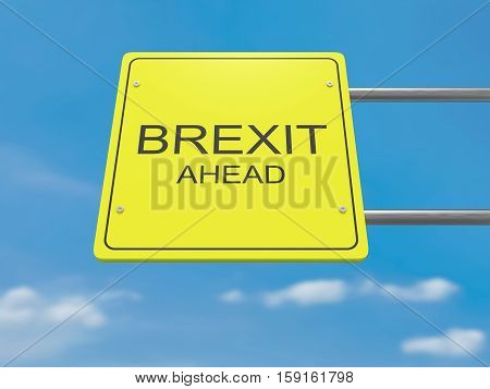Yellow Road Sign Brexit Ahead Against A Cloudy Sky 3d illustration