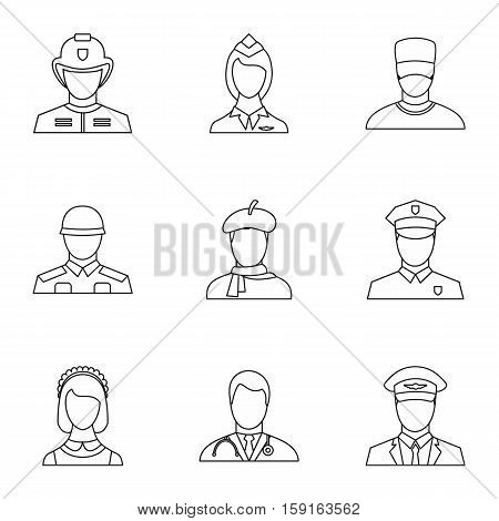 Occupation icons set. Outline illustration of 9 occupation vector icons for web
