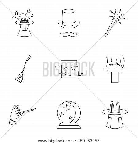 Tricks icons set. Outline illustration of 9 tricks vector icons for web