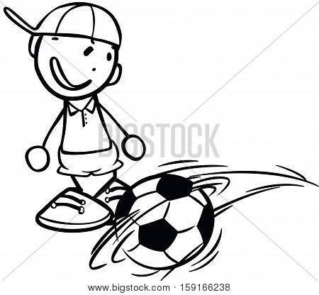 Scalable vectorial image representing a boy playing football, isolated on white.