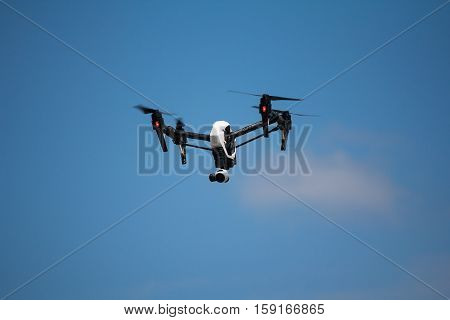 Quadrocopters camera during flight in the sky