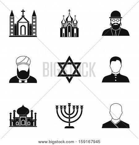 Faith icons set. Simple illustration of 9 faith vector icons for web