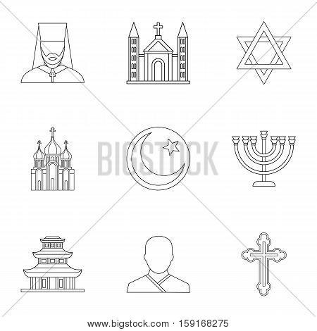 Faith icons set. Outline illustration of 9 faith vector icons for web