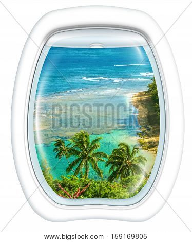Plane window on Kee Beach, Kauai, Hawaii, United States, from a plane through the porthole. Copy space.