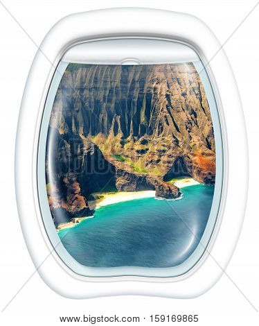 Plane window on Na Pali coast, Kauai, Hawaii, United States, from a plane through the porthole. Copy space.