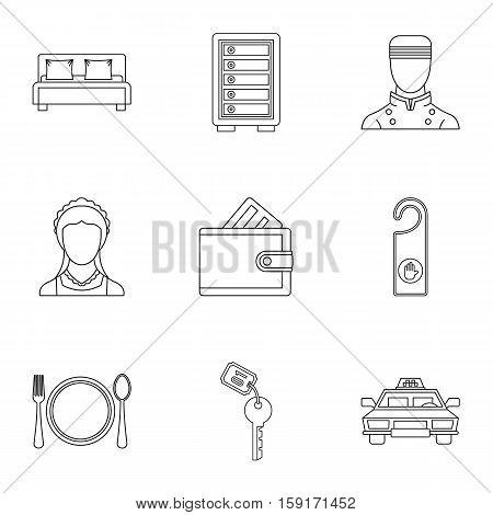 Hotel accommodation icons set. Outline illustration of 9 hotel accommodation vector icons for web