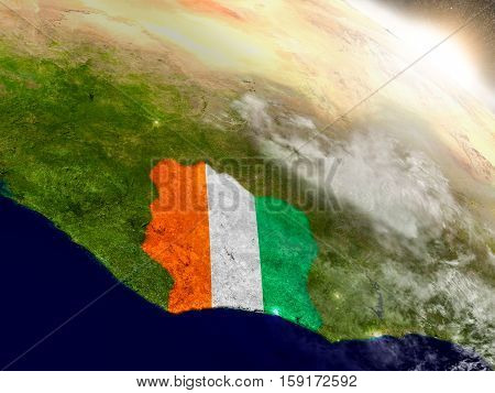 Ivory Coast With Flag In Rising Sun