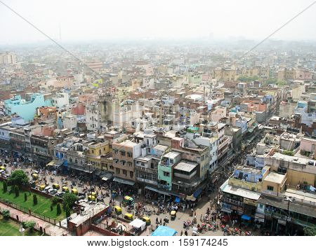 Environmental problems in Asia: aerial overview the centre of Old Delhi, India.
