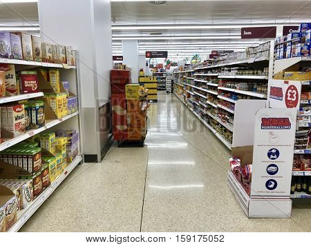 LONDON - NOVEMBER 29: Varieties of Jams and Cereals at Sainsbury's O2 Centre Finchley Road on November 29, 2016 in London, UK.