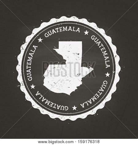 White Chalk Texture Rubber Stamp With Republic Of Guatemala Map On A School Blackboard. Grunge Rubbe