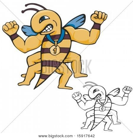 Bee Mascot for sport teams. Great for t-shirt designs, school mascot logo and any other design work. Ready for vinyl cutting.
