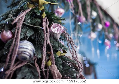 Holiday Tree With Unusual Ornament. Christmas Background