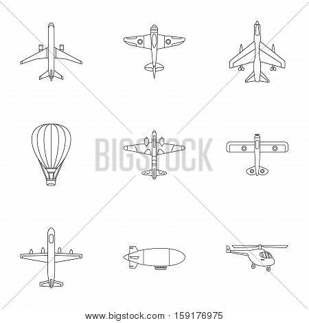 Military air transport icons set. Outline illustration of 9 military air transport vector icons for web