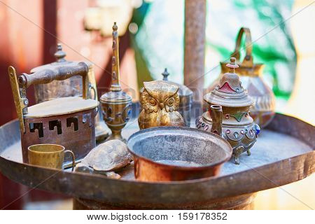 Selection Of Ancient Metal Objects On Moroccan Market