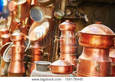 Selection Of Bronze Teapots On Moroccan Market