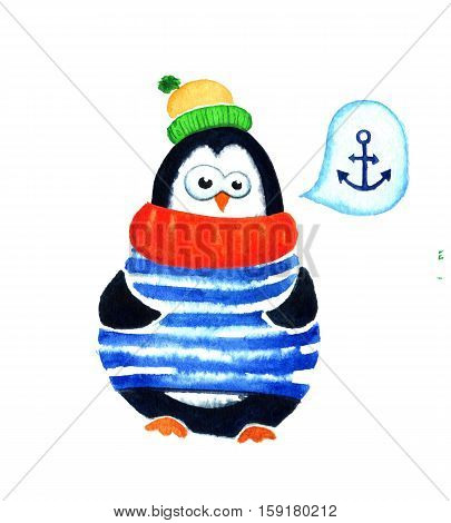 Cartoon penguin for babies and little kids. Cute penguin dreams about sea. Cartoon penguin character. Funny bird with anchor and bubble. Watercolor illustration isolated on white background