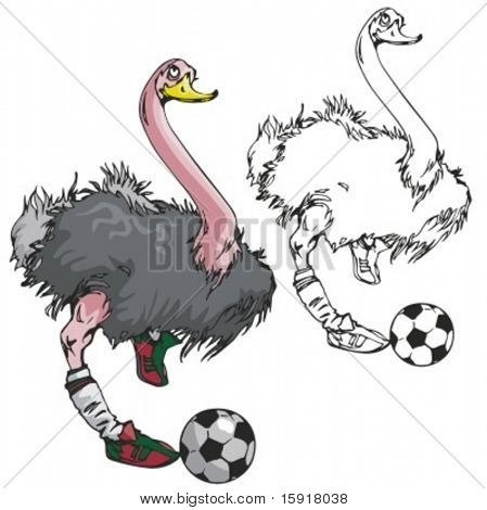 Ostrich Soccer Mascot. Great for t-shirt designs, school mascot logo and any other design work. Ready for vinyl cutting.